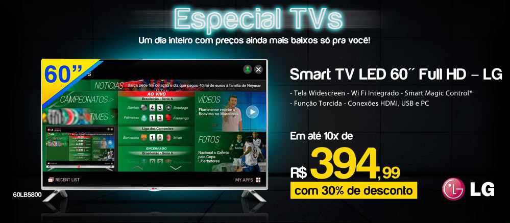 Comprar TV Ricardo Eletro Smart TV LED 60 LG Full HD com Tela Widescreen, Wi Fi 60LB5800c