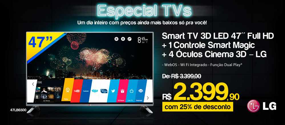 Ricardo Eletro Smart TV 3D LED 47 LG Full HD com WebOS, Wi Fi Óculos Cinema 3D - 47LB6500