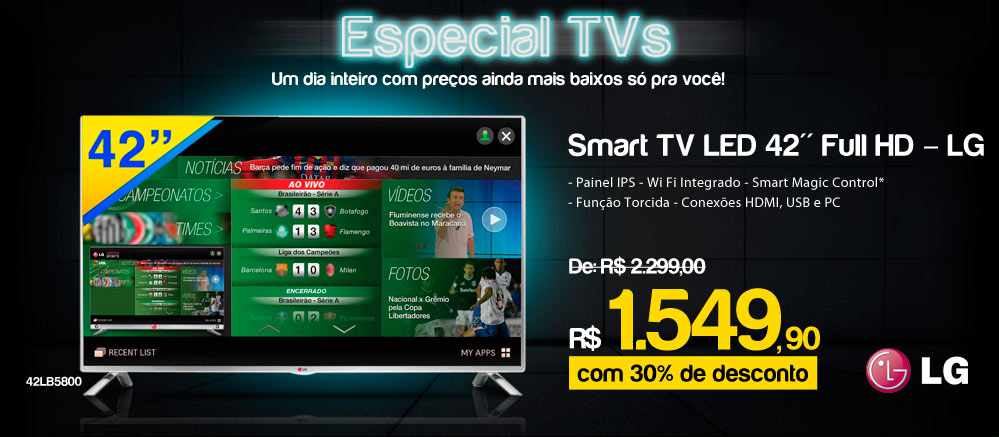 Ricardo Smart TV LED 42 LG Full HD com Painel IPS, Wi Fi Integrado 42LB5800