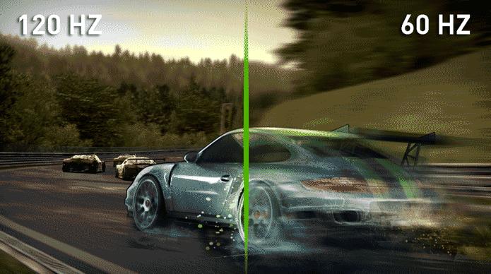 movimento de blur com diferenca de frequencia em hz em TVs
