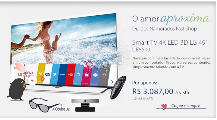 Smart TV 4K LED 3D LG 49 com WebOS, Controle Smart Magic e Wi-Fi - 49UB8500