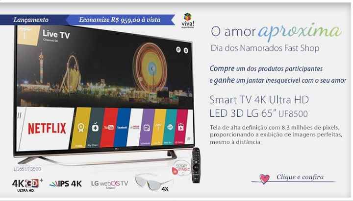 "Smart TV 4K Ultra HD LED 3D LG 65"" com WebOs 2.0, Controle Smart Magic e Wi-Fi - 65UF8500"